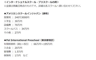 インターナショナルスクール 学費